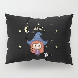 Pixel Witch (Pixel Art/Black) Pillow Sham