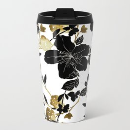 Black Azelea Metal Travel Mug
