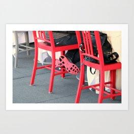 Sitting Cross Legged On The Red Chair Art Print