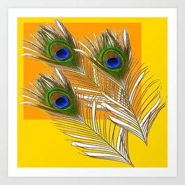 3 GREEN PEACOCK FEATHERS YELLOW ABSTRACT ART Art Print