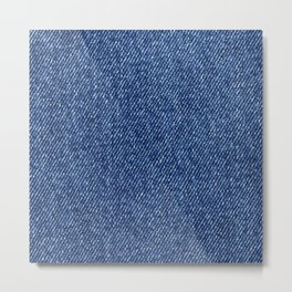 Washed Denim Fabric (Twill Textile) - Blue Metal Print