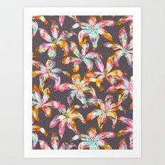 Aztec Sunrise Floral - Grey Art Print