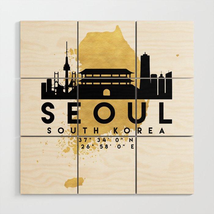 SEOUL SOUTH KOREA SILHOUETTE SKYLINE MAP ART Wood Wall Art by ...
