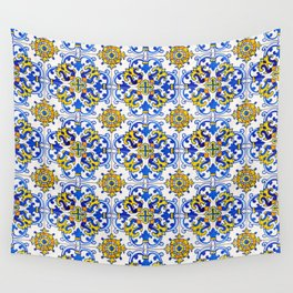 Blue Yellow Seamless Pattern Antique Portuguese Azulejo Tile Wall Tapestry