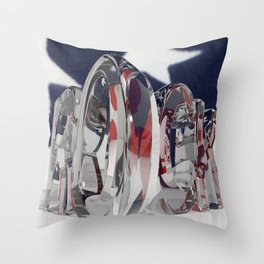 Rock in transparent letters with american flag Throw Pillow