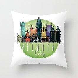Cool Atlanta City Skyline, GA Retro Design Throw Pillow