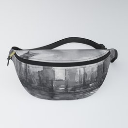 Seattle Skyline Painting Watercolor Black and White Space Needle Fanny Pack