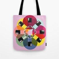 nail polish Tote Bags featuring Designer Nail Polish Print by BeckiBoos