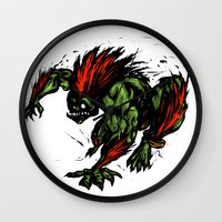 street fighter Wall Clocks featuring Blanka Rush! - Street Fighter by Peter Forsman
