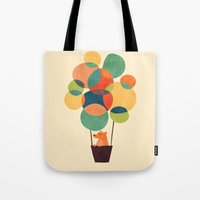 hot air balloon Tote Bags featuring Whimsical Hot Air Balloon by Picomodi