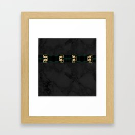 Black Gold Green Marble Mandala Abstract Framed Art Print