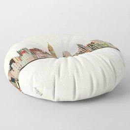 cleveland ohio skyline Floor Pillow
