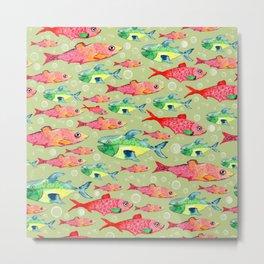 watercolor fish jam pattern Metal Print