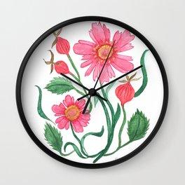 coreopsis & rose hips Wall Clock