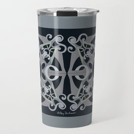 Support Love Mandala x 2 - Neutral/Black Travel Mug