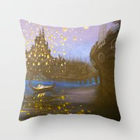 tangled Throw Pillows featuring Tangled by carotoki art and love
