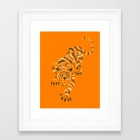 tiger Framed Art Prints featuring TIGER by Jazzberry Blue