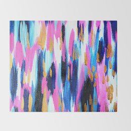 Spring Golden - Pink and Navy Abstract Throw Blanket