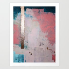 Morning Light: a minimal abstract mixed-media piece in pink gold and blue by Alyssa Hamilton Art Art Print