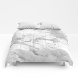 Marble - Silver and White Marble Pattern Comforters