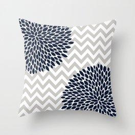 Chevron Floral Modern Navy and Grey Throw Pillow