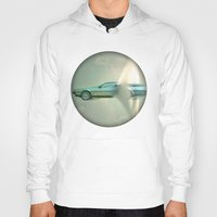 delorean Hoodies featuring Supersonic Delorean by Vin Zzep
