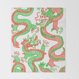 Battling Dragons Throw Blanket