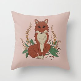 Fox with Foxgloves Pastel Throw Pillow