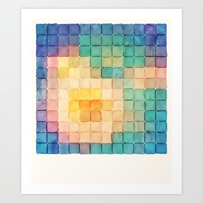 Sunday's Society6 | Watercolor bloom pixel art print
