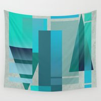 metropolis Wall Tapestries featuring METROPOLIS | blue by Cheryl Daniels
