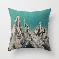 mountains Throw Pillows featuring Mountains by Amelia Senville