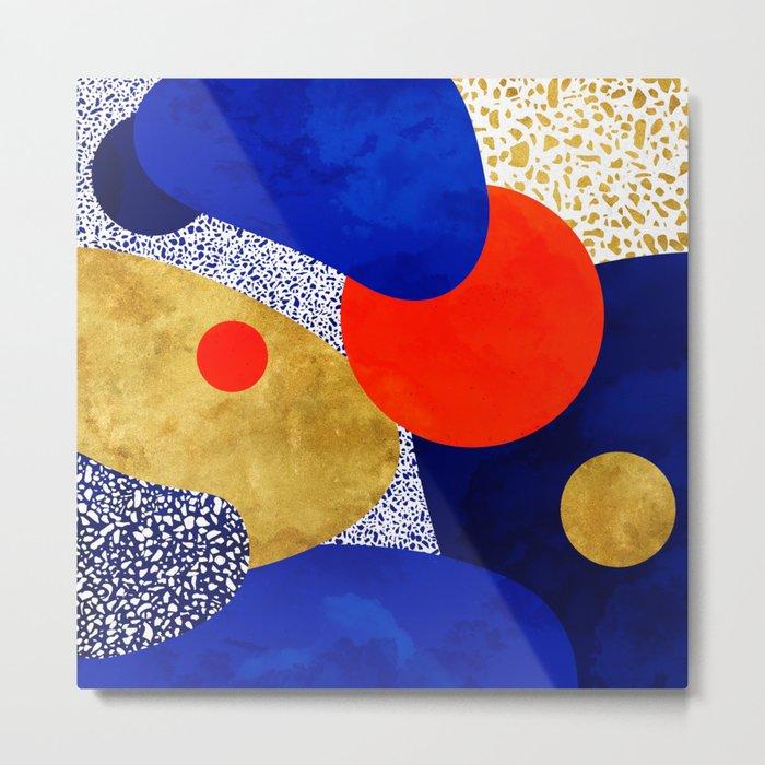 Terrazzo galaxy blue night yellow gold orange Metal Print