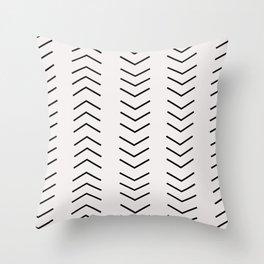 mudcloth pattern white black arrows Throw Pillow