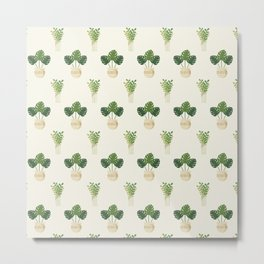Modern ivory green tropical cheese monster leaves floral Metal Print