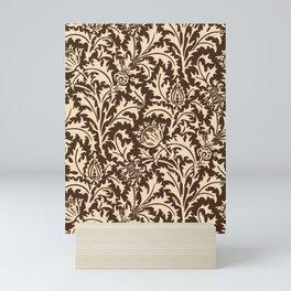 William Morris Thistle Damask, Taupe Tan and Beige Mini Art Print