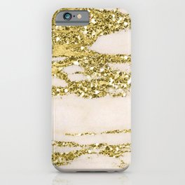 Marble - Gold Marble Glittery Light Pink and Yellow Gold iPhone Case