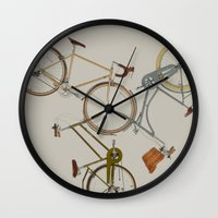 bicycles Wall Clocks featuring bicycles by Golden Boy