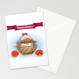The occasion . Basket with Easter eggs . Retro . Stationery Cards