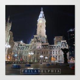 Philadelphia - City Hall at night.  Canvas Print