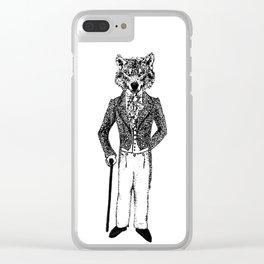 Dapper Wolf Clear iPhone Case