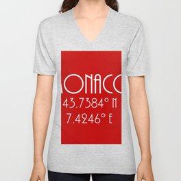 Monaco Latitude Longitude Unisex V-Neck