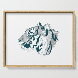 Grayscale Tiger Serving Tray