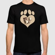 Puppy Love - Sketch Style Black Mens Fitted Tee MEDIUM
