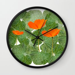 Orange Poppy Flowers Green Large Leaf #decor #society6 #buyart Wall Clock