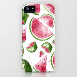 Juicy Watercolor Watermelons iPhone Case