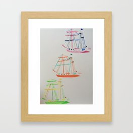 3 boats Framed Art Print