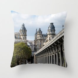 Pont de Bir-Hakeim over the Seine Throw Pillow