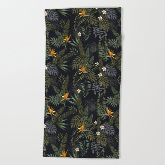 night tropical pattern Beach Towel