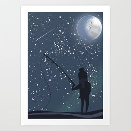 Fishing under the Moon Art Print