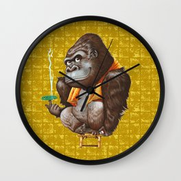 Relaxing Gorilla on Gold-leaf Screen Wall Clock